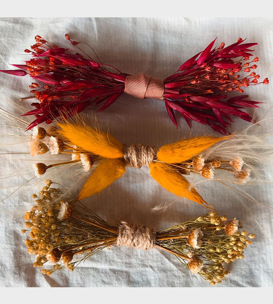 Accessoires fleurs séchées noeuds papillon