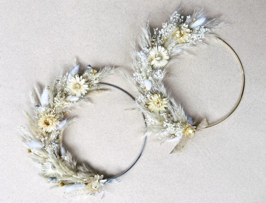 Ange Couronne de fleurs séchées