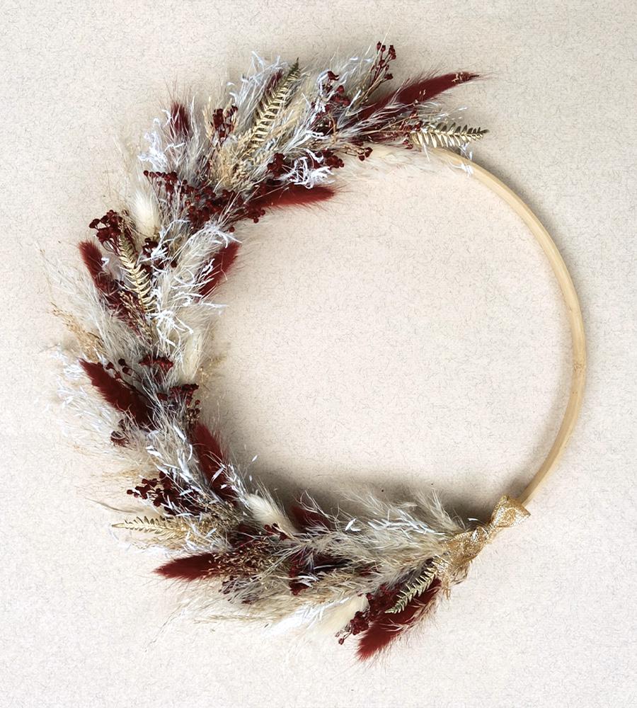 Noëlle - Couronne de fleurs séchées